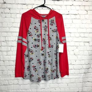 Disney Minnie Mouse Red and Gray Hoodie